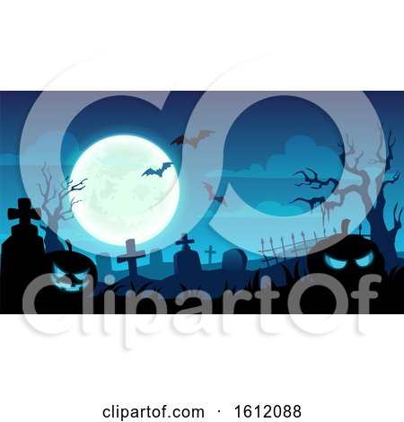 Clipart of a Blue Halloween Background of a Cemetery - Royalty Free Vector Illustration by Vector Tradition SM
