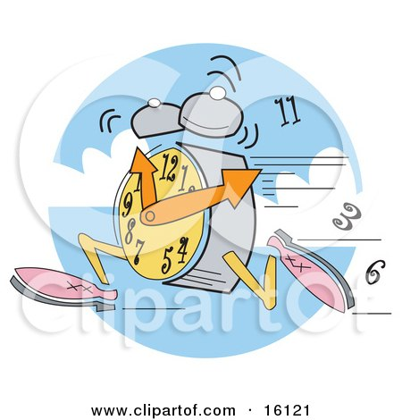 Alarm Clock Wearing Shoes, Running, Ringing And Dropping Numbers Clipart Illustration by Andy Nortnik