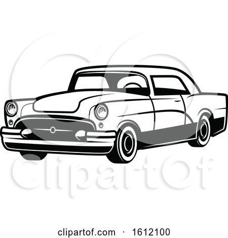 Clipart of a Black and White Vintage Car - Royalty Free Vector Illustration by Vector Tradition SM