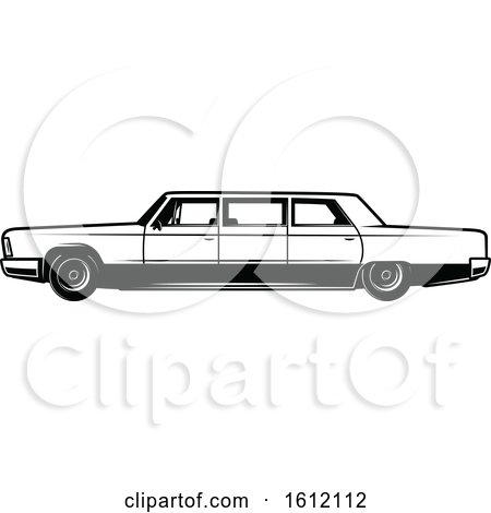 Clipart of a Black and White Car - Royalty Free Vector Illustration by Vector Tradition SM