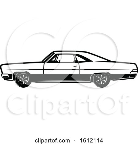 Clipart of a Black and White Muscle Car - Royalty Free Vector Illustration by Vector Tradition SM