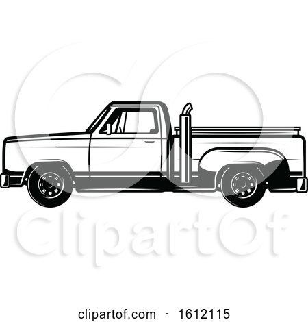Clipart of a Black and White Pickup Truck - Royalty Free Vector Illustration by Vector Tradition SM