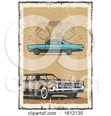 Clipart of a Vintage Car Design - Royalty Free Vector Illustration by Vector Tradition SM