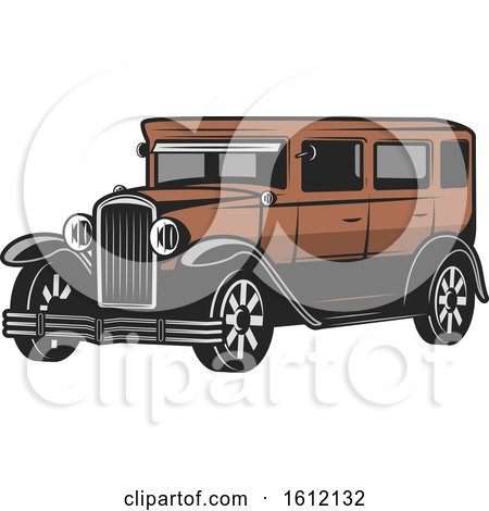 Clipart of a Vintage or Antique Car - Royalty Free Vector Illustration by Vector Tradition SM
