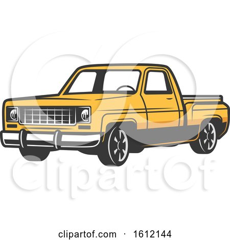 Clipart of a Vintage Pickup Truck - Royalty Free Vector Illustration by Vector Tradition SM