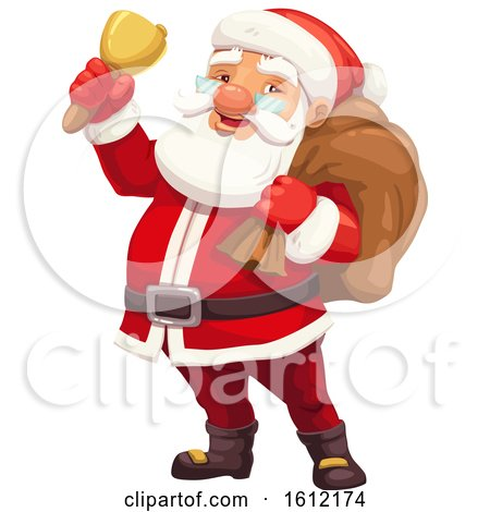 Clipart of Santa Claus Ringing a Bell - Royalty Free Vector Illustration by Vector Tradition SM