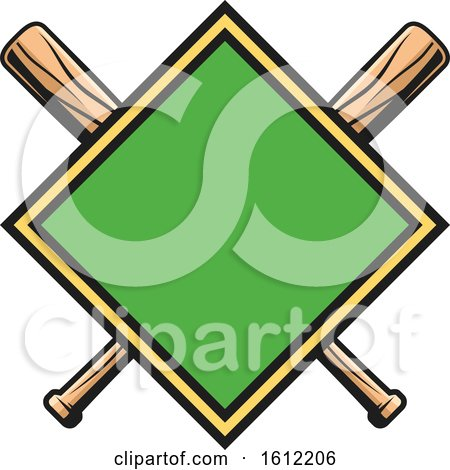 Clipart of a Diamond with Crossed Baseball Bats - Royalty Free Vector Illustration by Vector Tradition SM