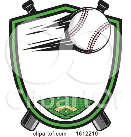 Clipart of a Flying Baseball in a Shield over Crossed Bats - Royalty Free Vector Illustration by Vector Tradition SM