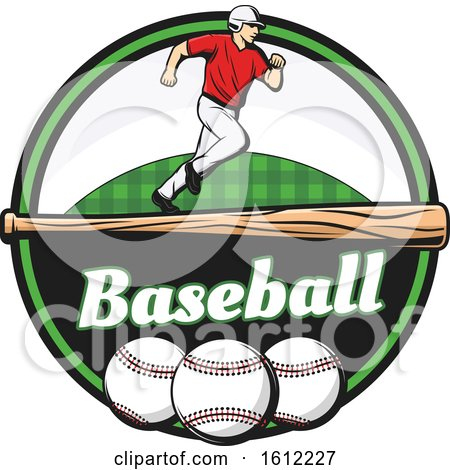 Clipart of a Baseball Player Running over a Bat in a Circle - Royalty Free Vector Illustration by Vector Tradition SM