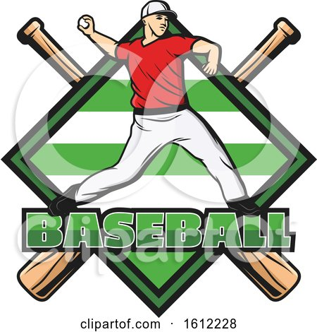 Clipart of a Baseball Pitcher over a Diamond and Crossed Bats - Royalty Free Vector Illustration by Vector Tradition SM