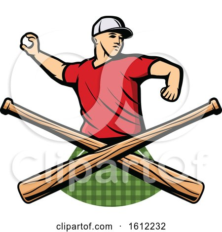 Clipart of a Baseball Pitcher over Crossed Bats - Royalty Free Vector Illustration by Vector Tradition SM