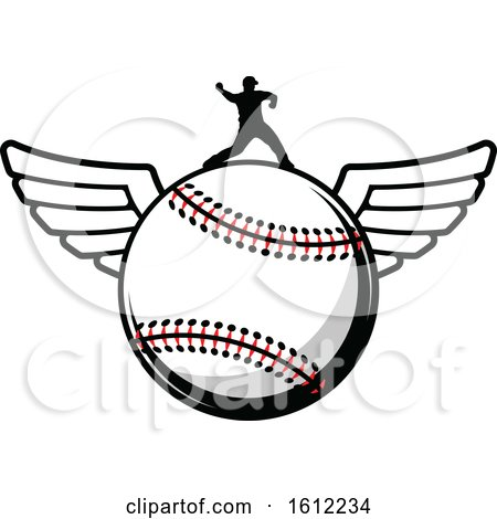 Clipart of a Silhouetted Pitcher on a Winged Baseball - Royalty Free Vector Illustration by Vector Tradition SM