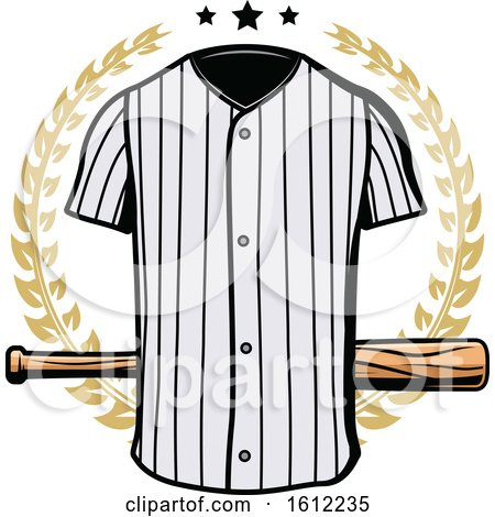 Clipart of a Baseball Uniform and Bat in a Wreath - Royalty Free Vector Illustration by Vector Tradition SM