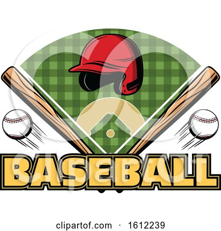 Clipart of a Baseball Helmet Bats and Field Design - Royalty Free Vector Illustration by Vector Tradition SM