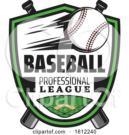Clipart of a Flying Baseball in a Shield over a Field and Crossed Bats - Royalty Free Vector Illustration by Vector Tradition SM