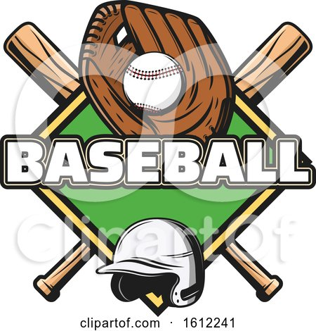 Clipart of a Baseball in a Glove over a Diamond and Crossed Bats - Royalty Free Vector Illustration by Vector Tradition SM