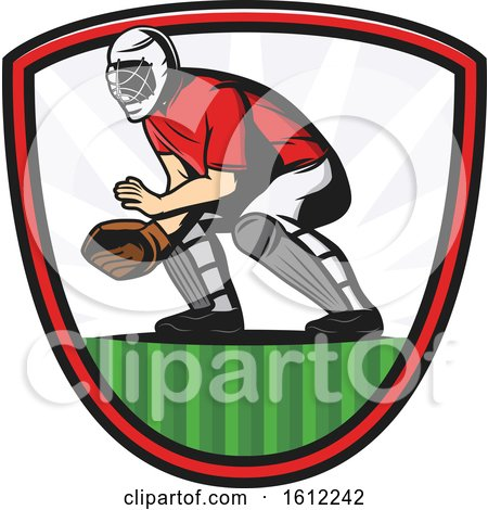 Clipart of a Baseball Catcher in a Shield - Royalty Free Vector Illustration by Vector Tradition SM