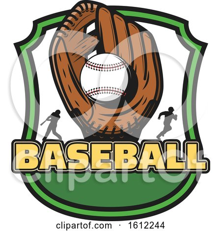 Clipart of a Baseball in a Glove in a Shield - Royalty Free Vector Illustration by Vector Tradition SM