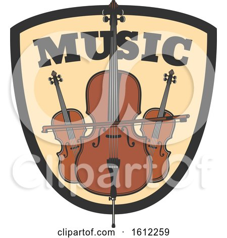 Clipart of a Bass and Cello Music Design - Royalty Free Vector Illustration by Vector Tradition SM