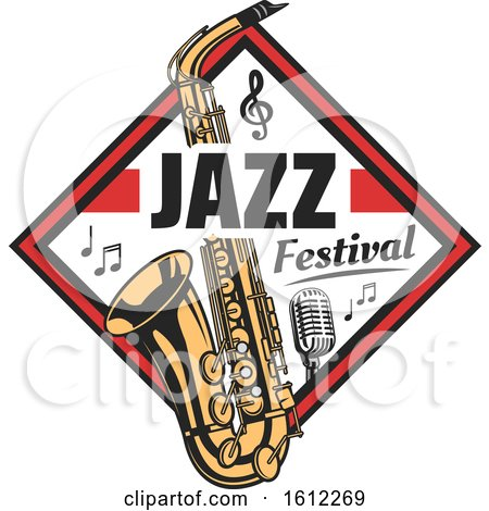 Clipart of a Saxophone Music Design - Royalty Free Vector Illustration by Vector Tradition SM