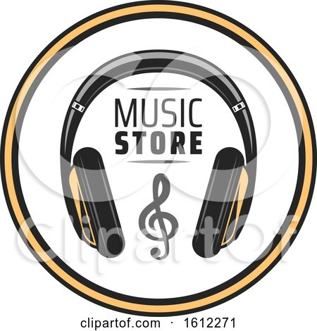 Clipart of a Headphones Music Design - Royalty Free Vector Illustration by Vector Tradition SM