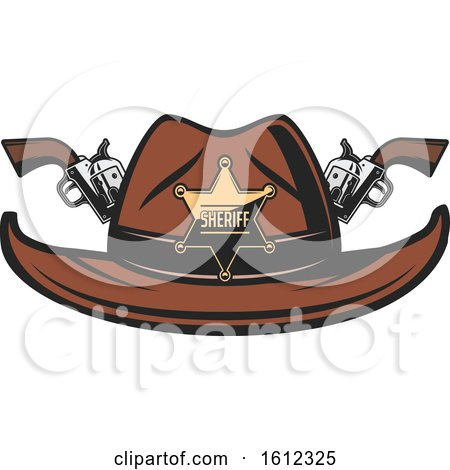 Clipart of a Star Sheriff Badge on a Cowboy Hat with Crossed Pistols - Royalty Free Vector Illustration by Vector Tradition SM