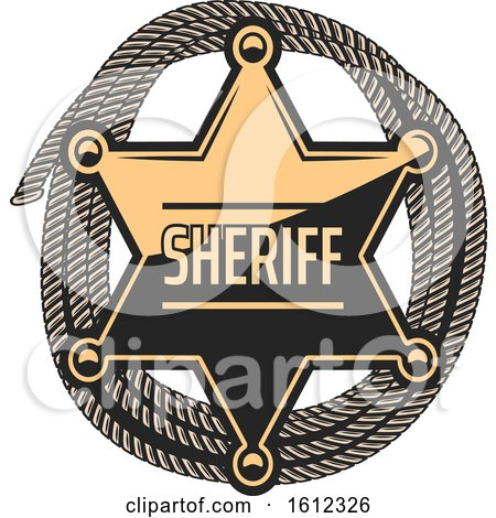 Clipart of a Star Sheriff Badge over Rope - Royalty Free Vector Illustration by Vector Tradition SM