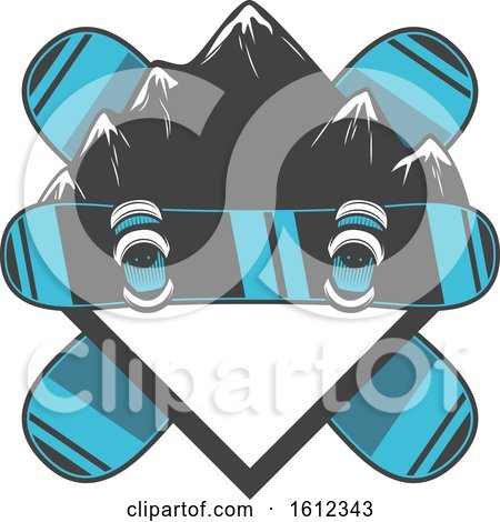 Clipart of a Snowboarding Design - Royalty Free Vector Illustration by Vector Tradition SM