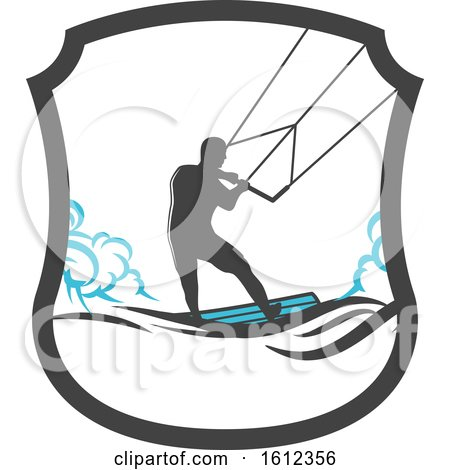 Clipart of a Kitesurfer - Royalty Free Vector Illustration by Vector Tradition SM