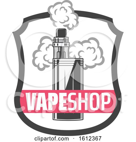 Clipart of a Vape Shop Shield - Royalty Free Vector Illustration by Vector Tradition SM