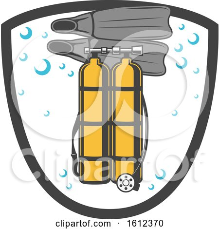 Clipart of a Shield with Diving Gear - Royalty Free Vector Illustration by Vector Tradition SM