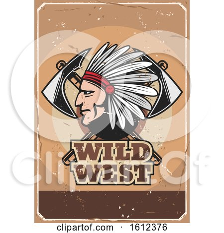 Chief with Axes on a Wild West Design Posters, Art Prints