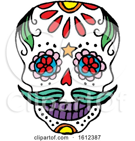 Clipart of a Dia De Muertos Day of the Dead Skull - Royalty Free Vector Illustration by Cherie Reve