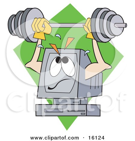 Powerful And Strong Computer Lifting A Heavy Barbell Above His Screen Clipart Illustration by Andy Nortnik