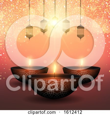 Diwali Background with Oil Lamps on a Starry Background by KJ Pargeter