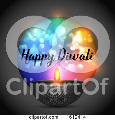 Diwali Background with Lamp on a Bokeh Lights Background by KJ Pargeter