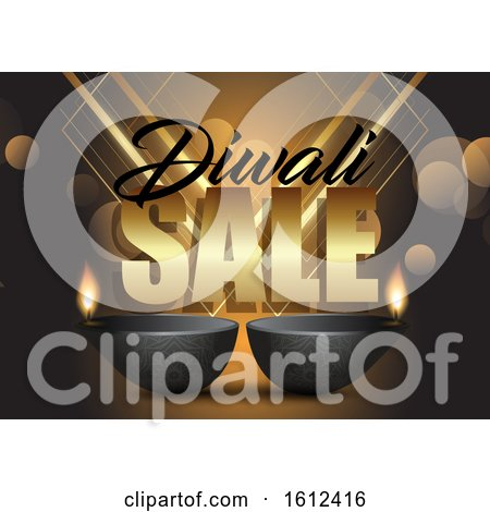 Diwali Sale Background with Oil Lamps by KJ Pargeter