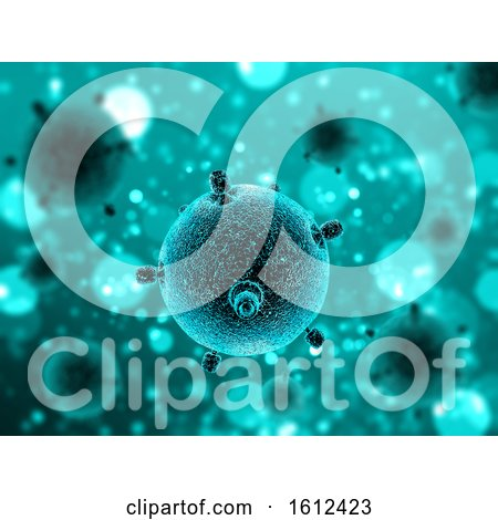 3D Medical Background with Close up of Virus Cell by KJ Pargeter