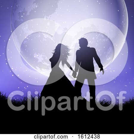 Silhouette of Wedding Couple Against a Moonlit Sky by KJ Pargeter
