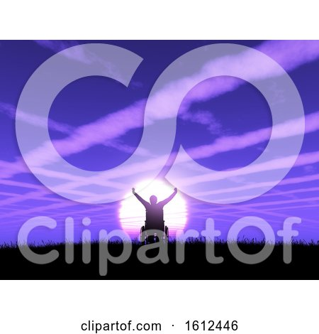 3D Male in Wheelchair with Arms Raised Against a Purple Sunset Landscape with Cloud Trails in the Sky by KJ Pargeter
