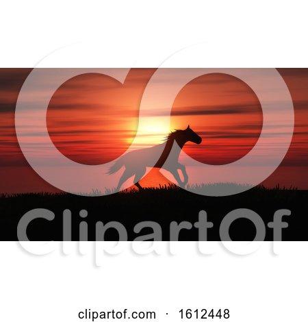3D Horse Running in a Sunset Landscape by KJ Pargeter