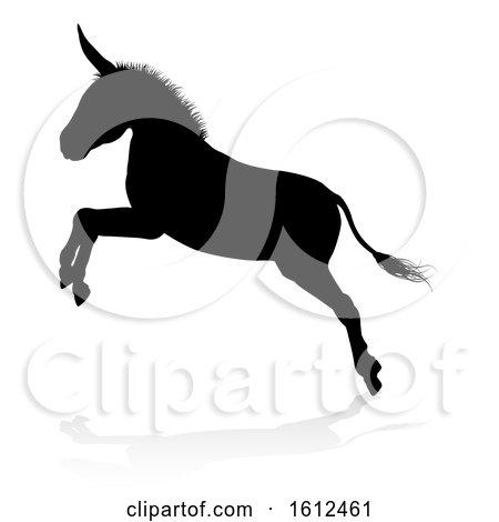 Donkey Animal Silhouette, on a white background by AtStockIllustration