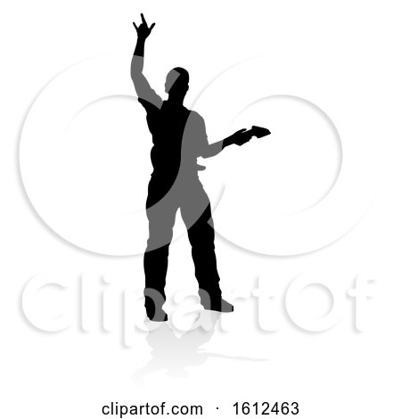 Musician Guitarist Silhouette, on a white background by AtStockIllustration