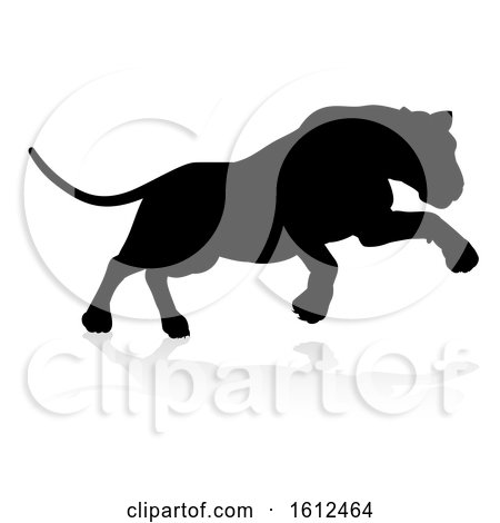 Silhouette Lion, on a white background by AtStockIllustration