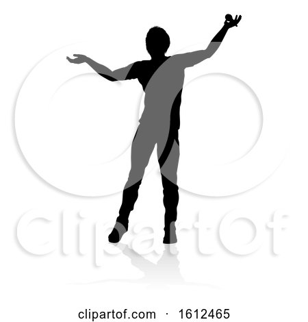 Singer Pop Country or Rock Star Silhouette, on a white background by AtStockIllustration