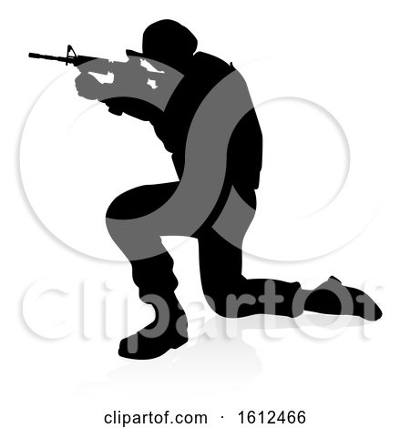 Soldier Detailed Silhouette, on a white background by AtStockIllustration