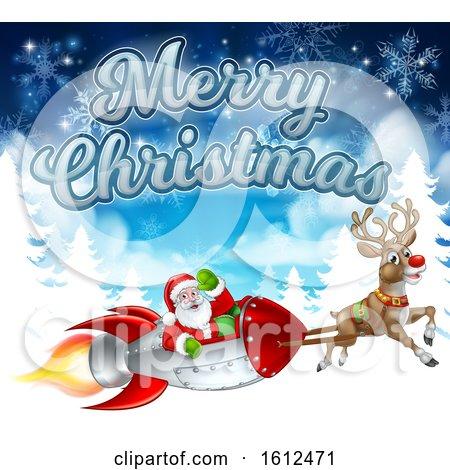 Merry Christmas Santa Rocket Sleigh Background by AtStockIllustration