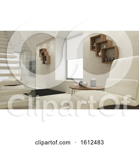 3D Contemporary Living Room Interior and Modern Furniture Posters, Art Prints