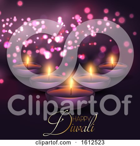 Diwali Background with Lamps on a Bokeh Lights Background by KJ Pargeter