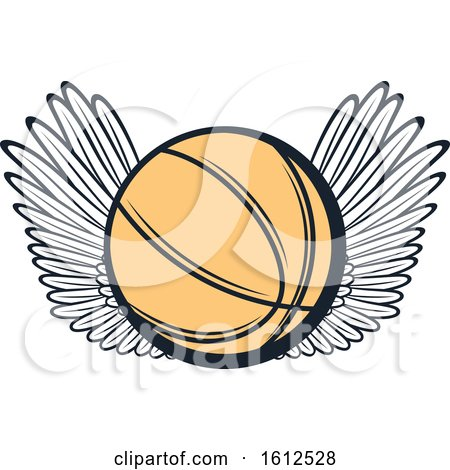 Clipart of a Winged Baskeball - Royalty Free Vector Illustration by Vector Tradition SM
